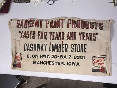 Cashway Lumber Store Advertising Nail Apron Manchester Iowa Sargent Paints