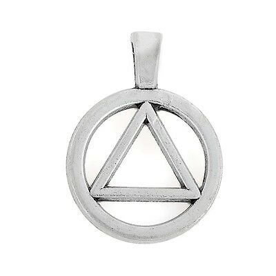 10Pcs Alcoholics Anonymous AA Pendants Jewelry Triangle In Circle Charm