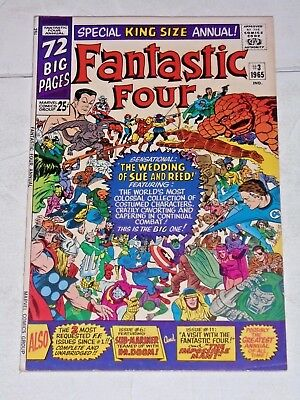 Fantastic Four #3 annual comic (FN+) Reed and Sue get married, Jack Kirby art