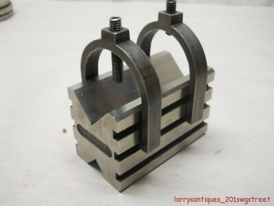 "~Super Nice~ Double Clamp 2 1/4 X 2 1/2"" X 4"" Ground & Harden Machinist V-Block"