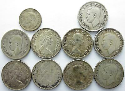 No reserve! Canada Silver 25 cent coin lot, George VI and Elizabeth II coins