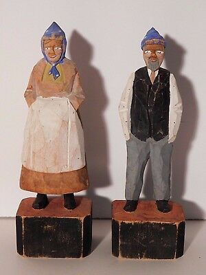 Vintage Hand Carved Painted Wood Pair of Figures Man & Woman by Audet Quebec 6''