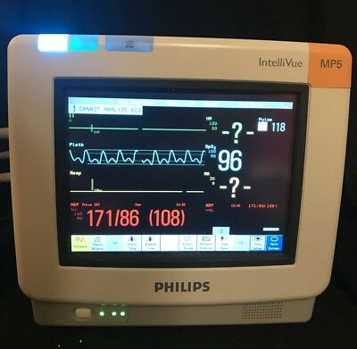 Philips IntelliVue MP5 Patient Monitor W/ NIBP, SpO2, ECG, Cables, Warranty