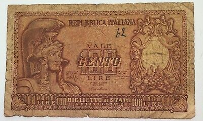 Italy 100 Lire 1951 Italian Foreign Paper Money Banknote
