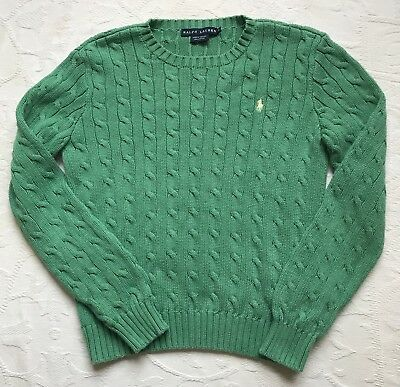 Polo Ralph Lauren Boy Girl Youth Cotton Sweater Cable Knit Green Pony M Medium