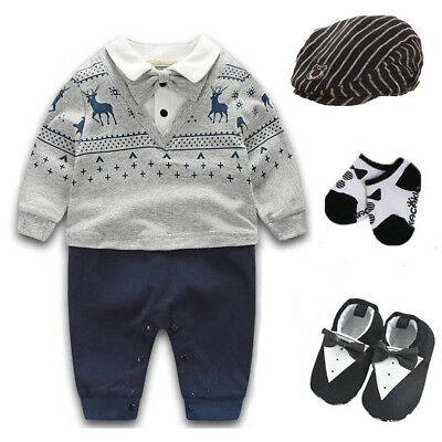 Newborn baby boy party birthday gift bodysuit+hat+socks+shoes baby shower gift