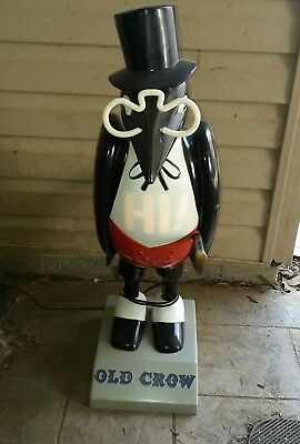 "Large 31"" Vintage Old Crow Whiskey Lighted Advertising Store Display Sign ~ Rare"