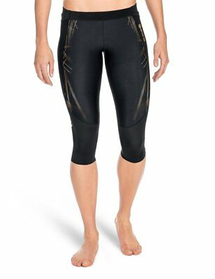 SKINS Women's A400 Compression 3/4 Tights, Black/Gold, X-Small