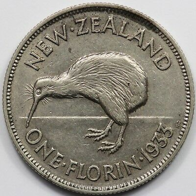 New Zealand 1933 Florin, toned about Uncirculated