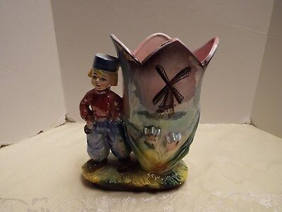 Vintage Dutch Boy Tulip Vase With The Windmill On Front Excellent Condition