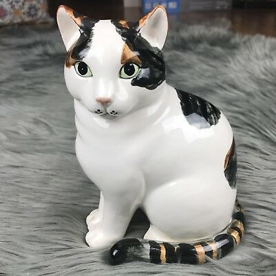 "Fitz and Floyd White Cat Figurine with Black & Brown Stripe Tail 8"" Tall"