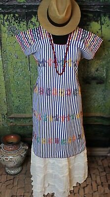 Blue & White Stripe Hand Woven Huipil San Juan Colorado Oaxaca Mexico Hippie