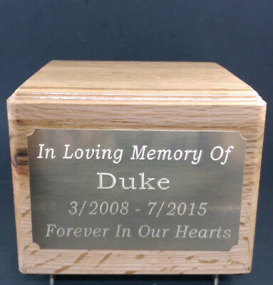 Pet Cremation Oak Urn, 56 Cubic Inches . Custom Engraved.