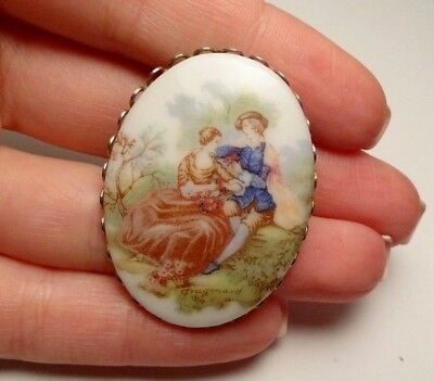Vintage Victorian Style Lovers Couple Ceramic Oval Brooch Pin Costume
