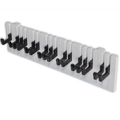 Piano Keyboard Design Wall-mounted Coat Rack with 16 Black Hooks J4Q8