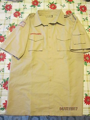 BSA/Cub,Boy Scout Tan Centennial Sht.Slv. Adult/Mens Shirt with left Slv. Pkt-02