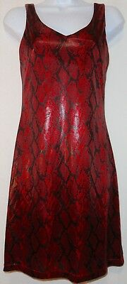 Vintage 90s USA Wet Red Snakeskin Tank ClubWear Party Dress Cross Straps Back