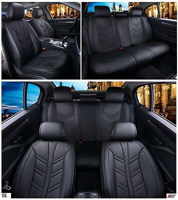 Deluxe Black PU Leather Full Set Seat Covers Padded For Alfa Romeo Giulia 4C