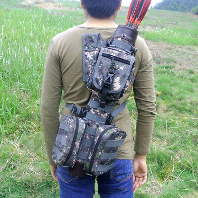 Tactical Quiver Multi-function Recurve&Compound Bow Leather Tube Quiver + Bags