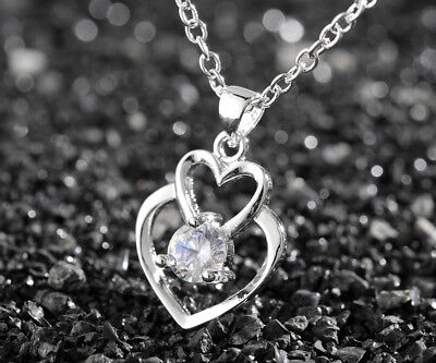 925 Sterling Silver Fashion Women Double Heart Pendant Necklace Chain Jewelry