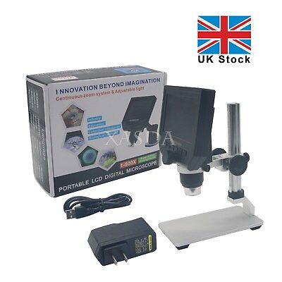 "Portable LED Digital Microscope 4.3"" LCD 3.6MP OLED G600 1-600X Magnification UK"