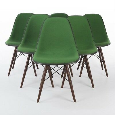 Green Set (6) Herman Miller Vintage Original Eames Upholstered Side DSW Chairs