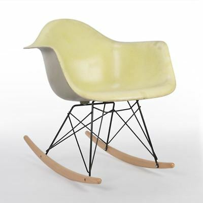 Yellow Herman Miller Original Vintage Eames Grey RAR Rocking Arm Shell Chair