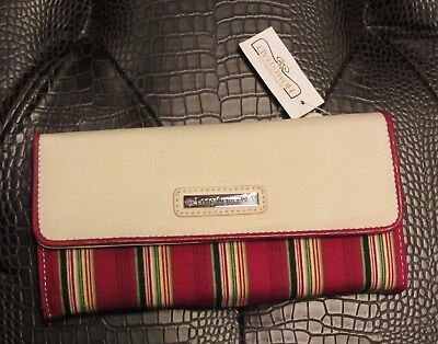 Longaberger Large WALLET w/ Removable CHECKBOOK ~ HOLIDAY STRIPE Fabric NWT