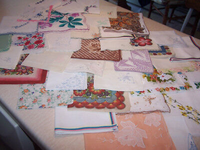 Mixed Lot of 36 Vintage Cutter Craft Handkerchiefs/Floral Embroidered Crochet +