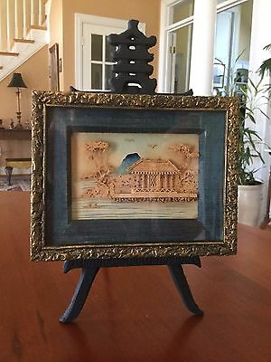 Antique Asian Cast Iron Easel Display Holder Handcrafted 3D Cork Art