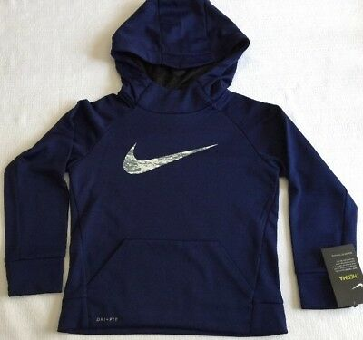 NIKE Boys Size 5. Hoodie Navy Blue Therma Dri Fit Camo Swoosh