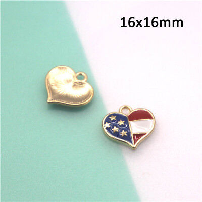 10pcs/lot Canada and American flag Charm enamel Zinc Alloy Colourful Neighbor