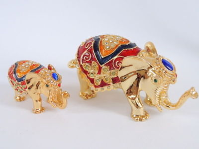Two Vintage Gold Tone Cast Metal Art Jewelry Trinket Box Statue Figure Elephants