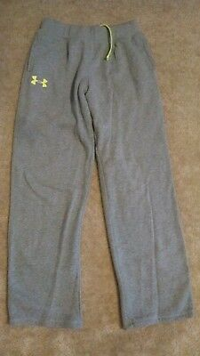 UNDER ARMOUR BOY'S or GIRL'S SZ YLG LONG, GRAY SWEAT PANTS GREEN LOGO