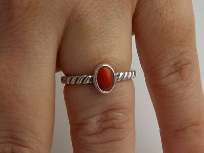 Silver And Coral Ring Metal Detecting Beach Find