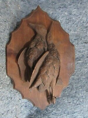 Gorgeous Antique 19th C. Wood Hand Carved Black Birds Forest Hunting Game Plaque