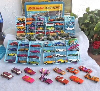 Vintage Collector Lot Of 71 Lesney Matchbox Cars & Trucks-Miltary W/case 60S-70S