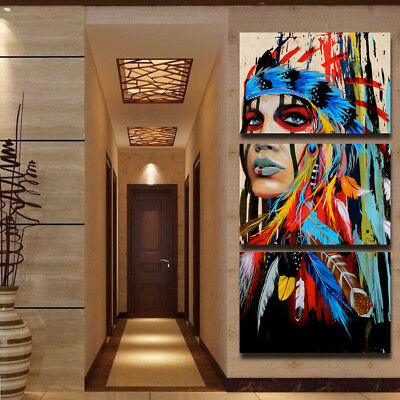 Beauty Native American Indian Girl-1 3 Panel Wall art printing canvas home decor