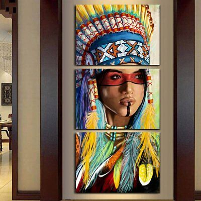 Beauty Native American Indian Girl-2 3 Panel Wall art printing canvas home decor