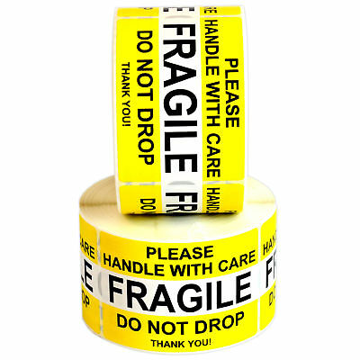 """2"""" X 3"""" Quality Fragile Sticker Handle With Care Do Not Drop Waterproof Yellow"""