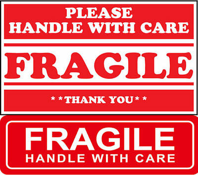 "RED FRAGILE 1""x3"" & 2""x3"" FRAGILE STICKER HANDLE WITH CARE FRAGILE DO NOT BEND"
