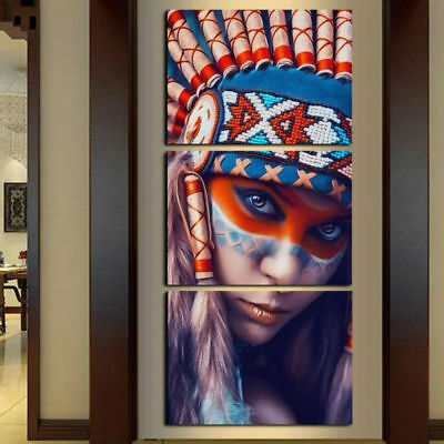 Beauty Native American Indian Girl-4 3 Panel wall art printing canvas home decor