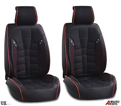 Deluxe Black PU Leather & Fabric Front Seat Covers Honda Civic Accord CR-V HR-V