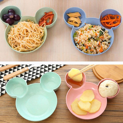Wheat Straw Children's Plate Cartoon Mickey Mouse Kids Bowl Dish Tray Cute BF1