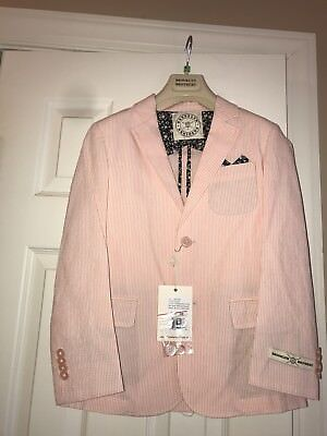 NWT Brooks Brothers Boys Seersucker Sports Jacket Size 8 Orange White $98.00