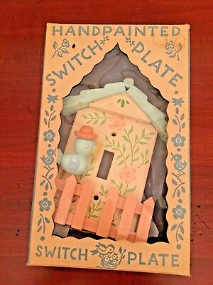 Vintage Hand- Painted Wood Switch Plate Cover For Baby Nursery Circa 1959