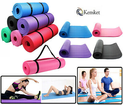 Yoga Mat 10mm Thick Exercise Fitness Workout Non-Slip Physio Pilates 180 x 61cm