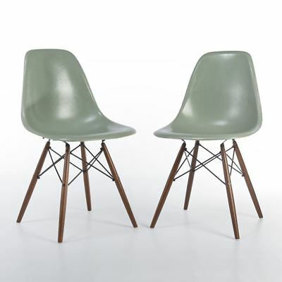 Seafoam Pair 2 Herman Miller Original Vintage Eames DSW Dining Side Shell Chairs