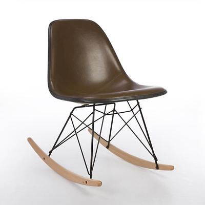Brown Herman Miller Original Eames Upholstered RSR Rocking Side Shell Chair