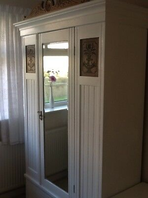 Double Wardrobe in antique oak ,painted shabby chic white.